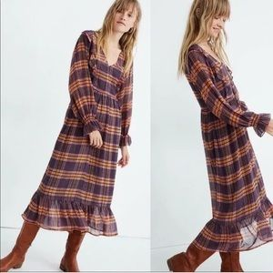 Madewell Plaid Full Sleeve Ruffle Midi Maxi Dress